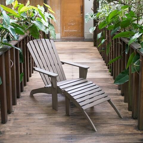 Cambridge Casual Renley Mahogany Adirondack Chair with Ottoman - Grey