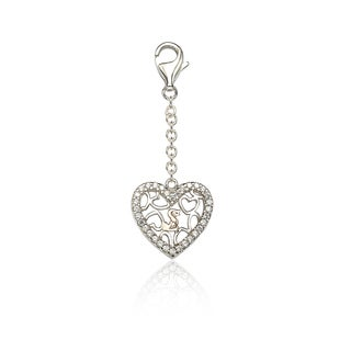 Suzy Levian Sterling SIlver Cubic Zirconia Heart Charm