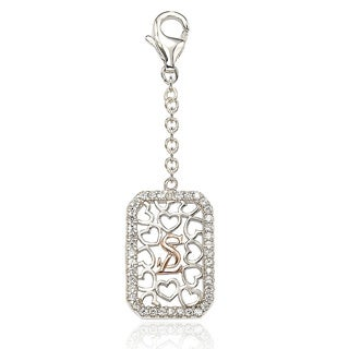 Suzy Levian Sterling SIlver Cubic Zirconia Emerald-shape Charm