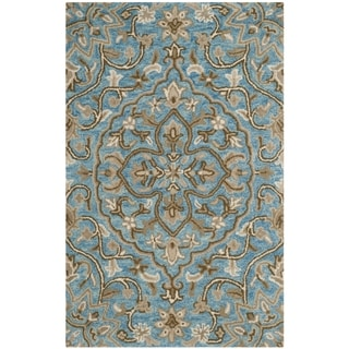 Safavieh Handmade Bella Blue/ Taupe Wool Rug (2' 6 x 4')