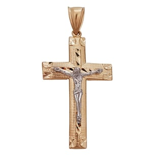 Decadence 14k Two-tone Gold Diamond-cut Cross Pendant