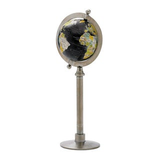 Multicolor Wood Vintage Globe on Straight Stand