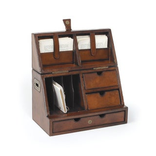 Hip Vintage Brown Leather Secretary Desktop Organizer