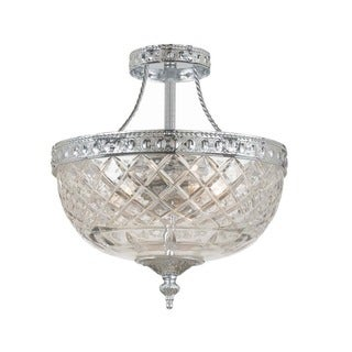 Crystorama Polished Chrome and Clear Glass Traditional Two-light Semi-flush Mount