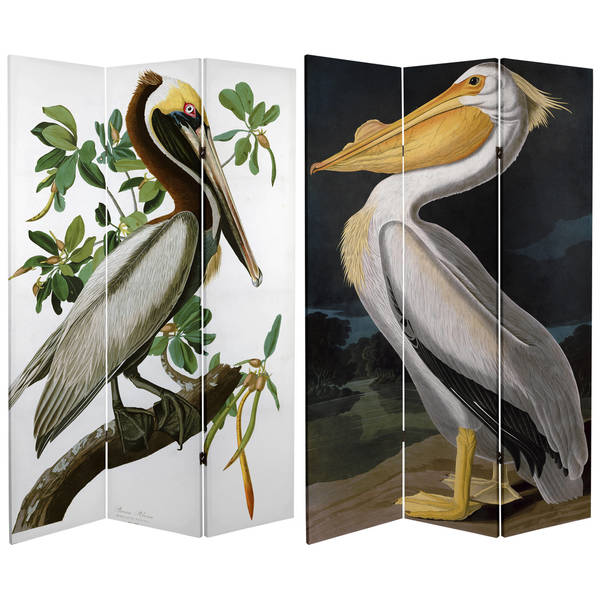 Handmade 6' Double Sided Audubon Pelican Canvas Room Divider
