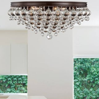 Crystorama Calypso Collection Vibrant Bronze Six-light Flush-mount Chandelier