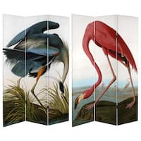 Double Sided Audubon Heron and Flamingo 6-foot Tall Canvas Room Divider