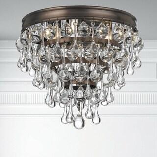 Crystorama Calypso Collection Bronze-finish Wrought Iron/Glass 3-light Flush Mount