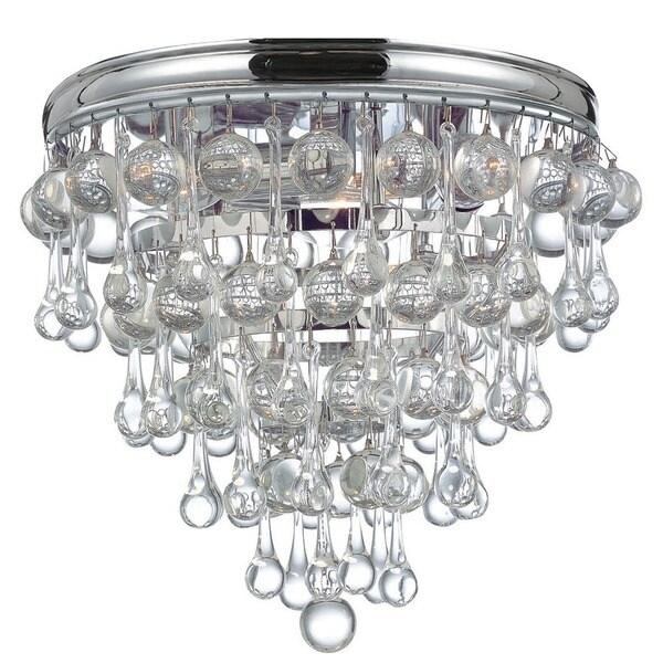 Crystorama Calypso Collection Chrome Brass Glass 3 Light Flush Mount Fixture Free Shipping
