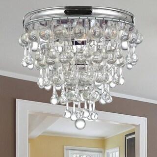 Crystorama Calypso Collection Chrome Brass/Glass 3-light Flush Mount Fixture