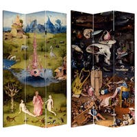 Double Sided Garden of Delights 7-foot Tall Canvas Room Divider