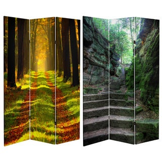 Double Sided Trail of Joy 6-foot Tall Canvas Room Divider