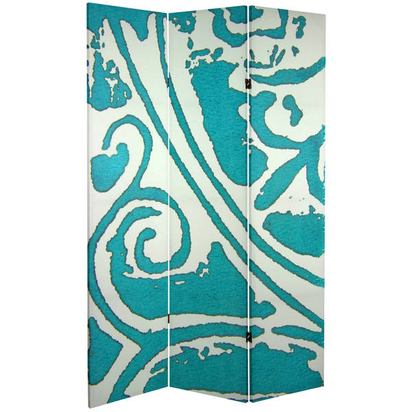Double Sided Teal Vineyard 6-foot Tall Canvas Room Divider