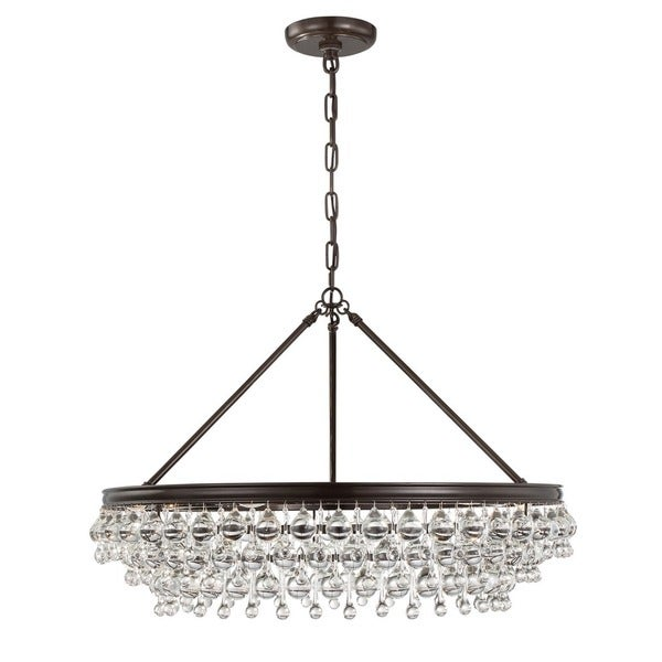 Brown Brass and Glass 6-light Chandelier