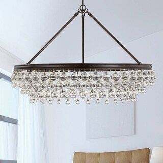 Calypso Collection Crystorama Brown Brass and Glass 6-light Vibrant Chandelier
