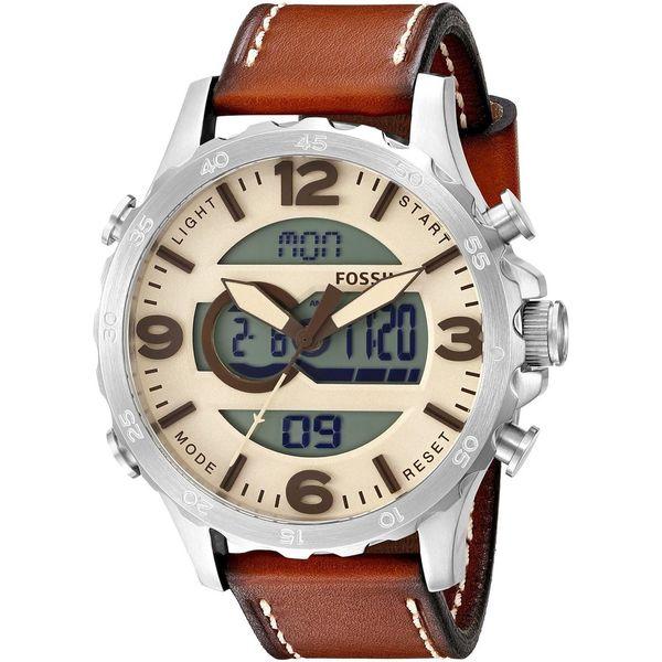 Mens Nate Analog Digital Multi Function Brown Leather Watch JR1492