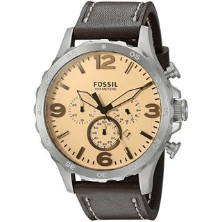 Fossil Men's JR1512 'Nate' Chronograph Brown Leather Watch