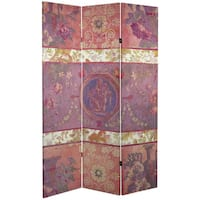 Double Sided Vintage Emblem 6-foot Tall Canvas Room Divider