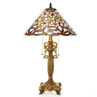 Byzantium Two-Light Floral Stained Glass 26-Inch Tiffany-style Table Lamp