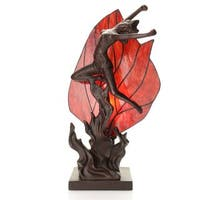 Aeliana Red Glass, Iron 16-inch 1-light Ballerina Tiffany-style Accent Lamp