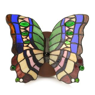 Diwata Beige, Blue, Brown, Green Glass 2-light 8-inch Tiffany-Style Stained Glass Butterfly Wall Lamp