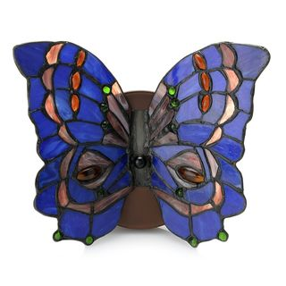 Dindy Blue, Green, Pink, and Red Glass 8-inch 2-light Tiffany-Style Stained Glass Butterfly Wall Lamp
