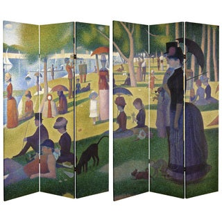 Double Sided Works of Seurat 6-foot Tall Canvas Room Divider