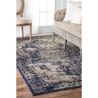 nuLOOM Vintage Crowned Border Blue Rug (4' x 6')
