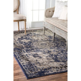 nuLOOM Vintage Crowned Border Blue Rug (9' x 12')
