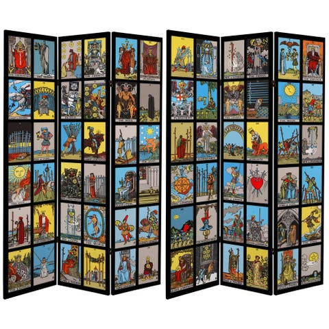 Handmade 6' Double Sided Tarot Canvas Room Divider