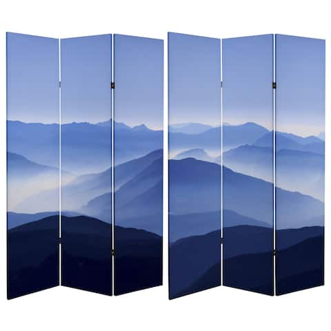 Double Sided Misty Mountain 6-foot Tall Canvas Room Divider