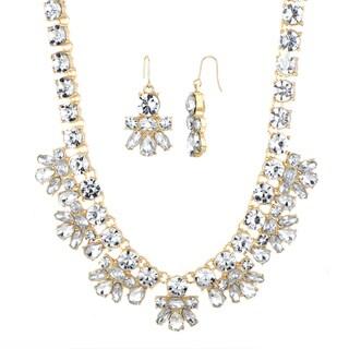 Brass Goldtone Rhinestone Statement Necklace Set
