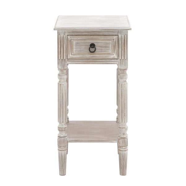 Shop Brown And White Distressed Wood Accent Table