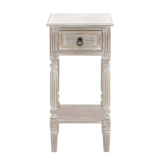 Brown and White Distressed Wood Accent Table