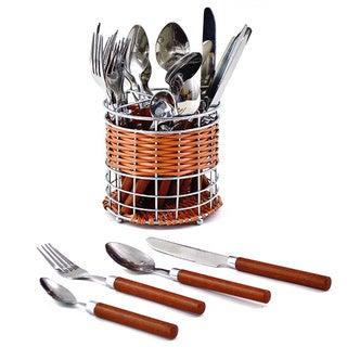 Nature Home Decor Rainbow Elite Collection 24-Piece Wood Design Handles Round Storage Basket Flatware Set