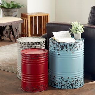 Accent Collection Blue/Off-white/Red Metal Drum Tables (Set of 3)