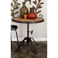 Accent Collection Black Distressed Metal and Wood 30-inch Round Table