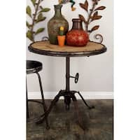 Industrial 30 x 30 Inch Riveted Iron and Wood Table by Studio 350