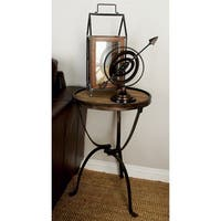 Accent Collection Metal Wood 27-inch x 18-inch Side Table