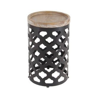 Grey Metal Wood-top Accent Table (Set of 2)