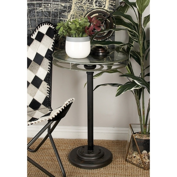Industrial 28 x 19 Inch Black Movie Reel Accent Table by Studio 350