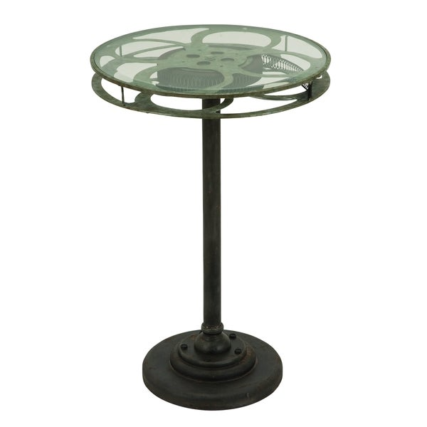 Black Metal and Glass Movie Reel Design Accent Table