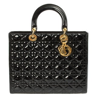 Lady Dior Large Black Patent Leather Bag with Gold Hardware