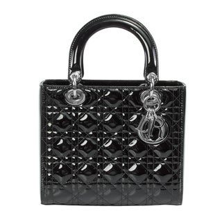 PatLady Dior Medium Smooth Black Patent Leather Bag with Silver Hardware