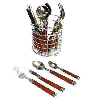 Nature Home Decor Rainbow Elite Collection Stainless Steel Flatware Set with Wood Handles