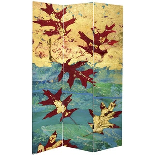 Double Sided Autumn Leaves 7-foot Tall Canvas Room Divider