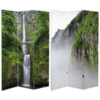Double Sided Mountaintop Waterfall 6-foot Tall Canvas Room Divider