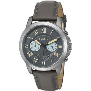 Fossil Men's FS5183 'Grant' Chronograph Grey Leather Watch