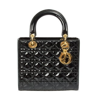 Lady Dior Medium Smooth Black Patent Leather Bag with Gold Hardware