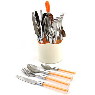 Nature Home Decor Rainbow Elite Orange and Silver Stainless Steel 24-piece Flatware Set